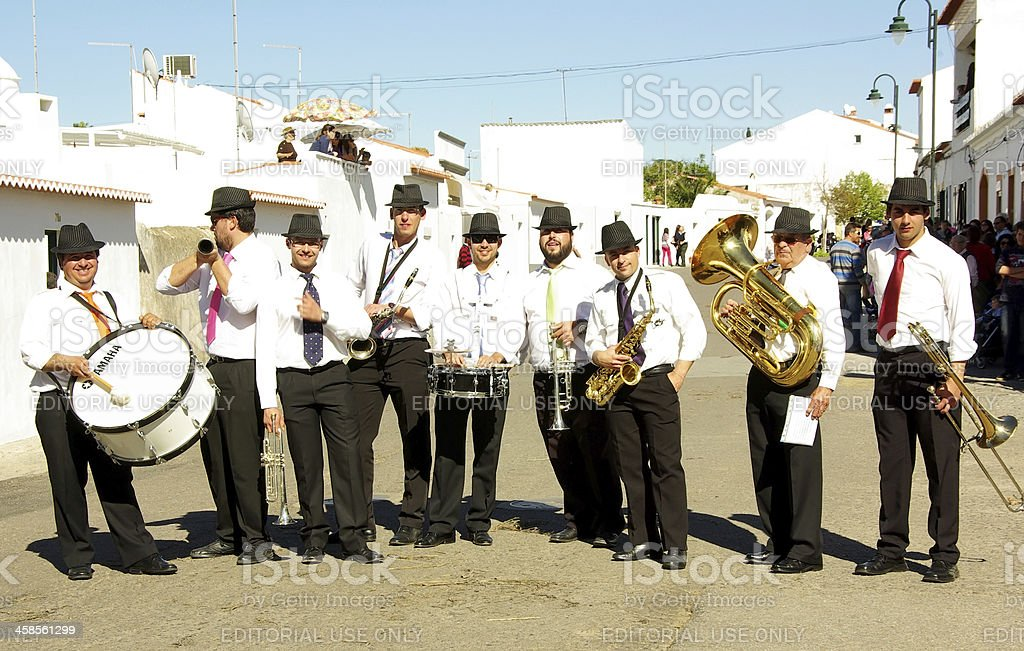 the musicians playing on street royalty-free stock photo
