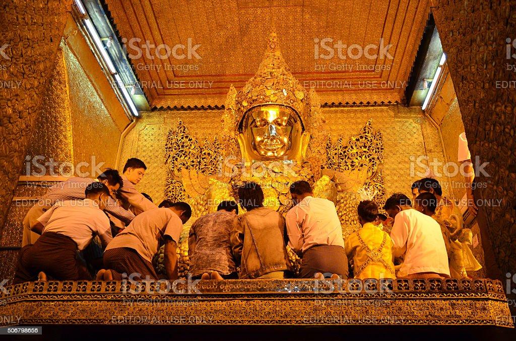 The Myanmar people at Mahamuni Buddha temple stock photo