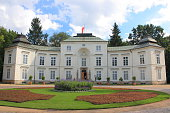 Warsaw, Poland - 15 august 2014 year.  The Myslewicki Palace in Lazienki Park built at the behest of Stanislaw August Poniatowski in the years 1774-1779 in the style of early classicism.