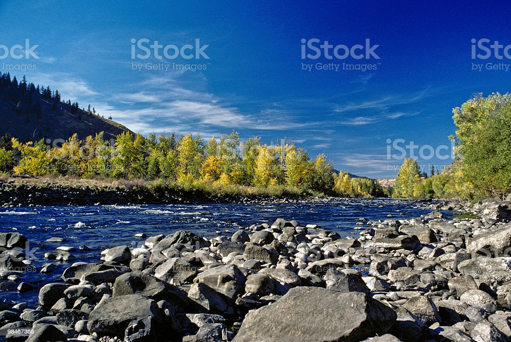 Fall Colors Along the Naches River royalty-free stock photo