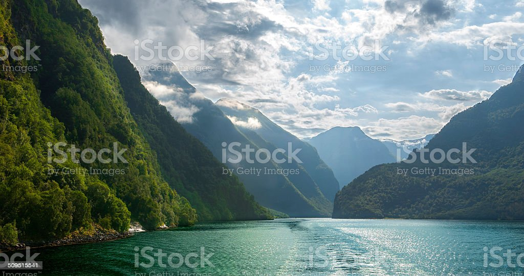 The Naeroyfjord stock photo