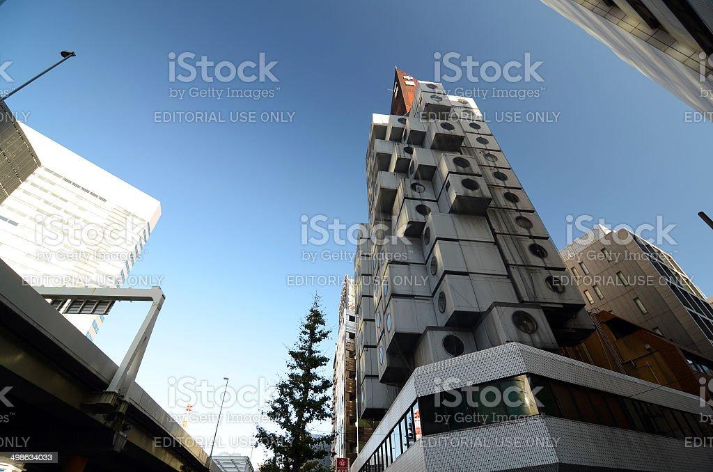 The Nakagin Capsule Tower in Tokyo, Japan stock photo