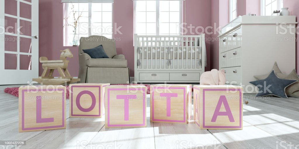 The Name Lotta Written With Wooden Toy Cubes In Childrens Room Stock Photo Download Image Now Istock
