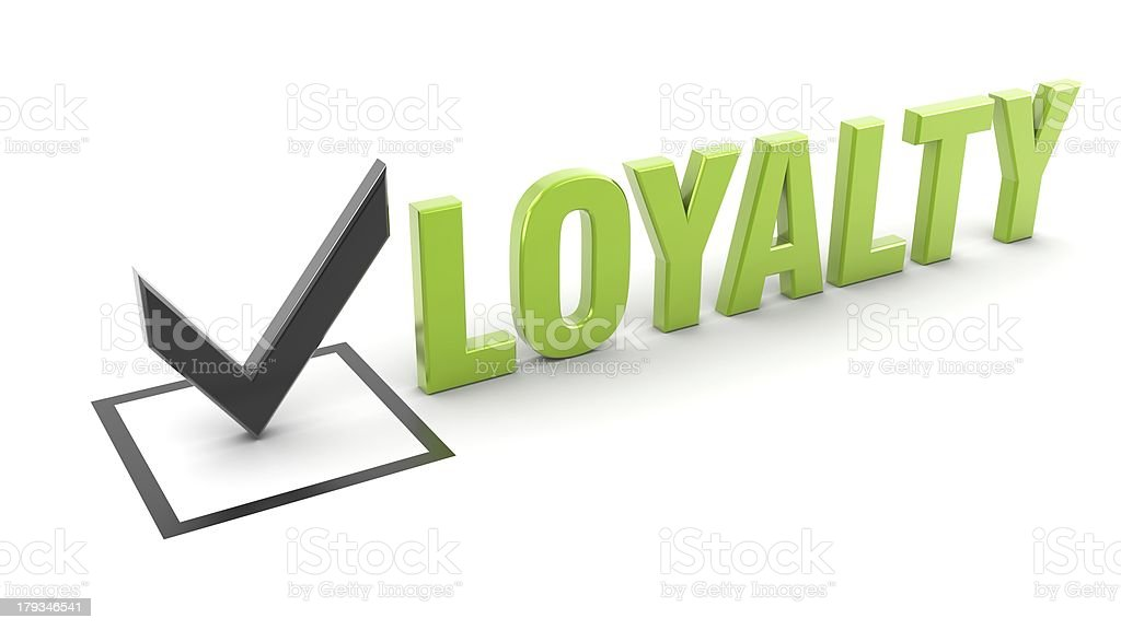 The name loyalty in bold letters stock photo