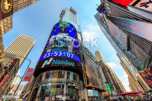 New York, USA - July 29, 2016: The headquarters of the NASDAQ Stock Exchange, the second largest trading market in the world, in Times Square in New York, New York.