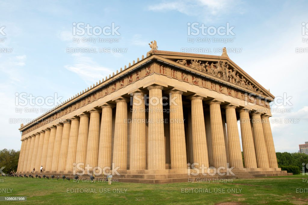 The Nashville Parthenon Nashville, USA - August 11, 2018. The Nashville Parthenon, a full-size replica of the famous Athen's Parthenon in Greek, located in Centennial Park in downtown Nashville, Tennessee. Architectural Column Stock Photo