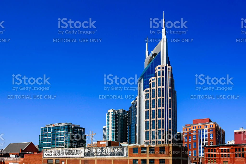 The Nashville skyline, dominated by the AT&T (batman) tower stock photo