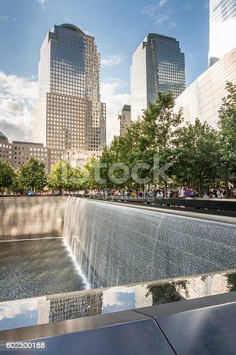New York, USA - SEP 3, 2016. The National September 11 9/11 Memorial at the World Trade Center Ground Zero site.