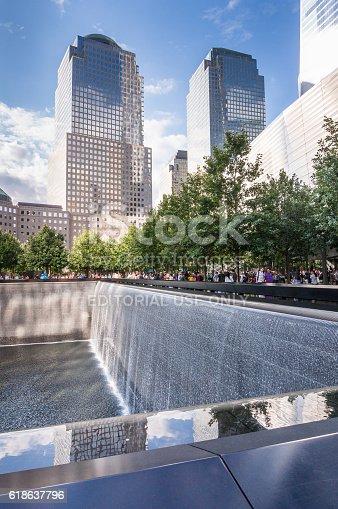 New York, United States - September 3, 2016: New York, USA - SEP 3, 2016. The National September 11 9/11 Memorial at the World Trade Center Ground Zero site.