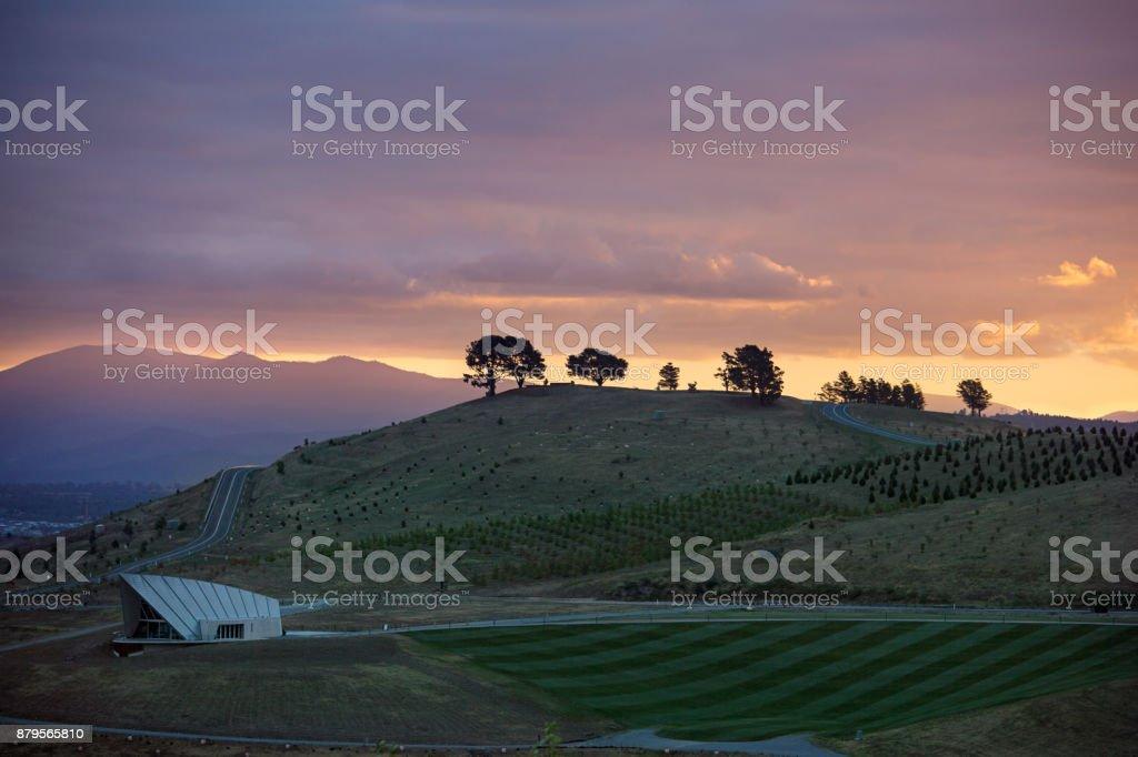 The National Arboretum Canberra at Sunset stock photo