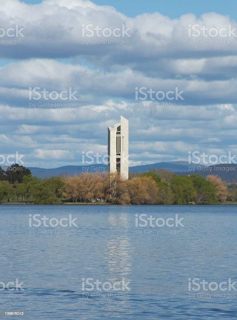 The National Carillion on Lake Burley Griffin stock photo