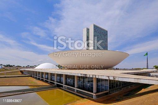 Brasilia, Brazil, August 7, 2018: The National Congress of Brazil in Brasilia, capital of Brazil, designed by Oscar Niemeyer, South America