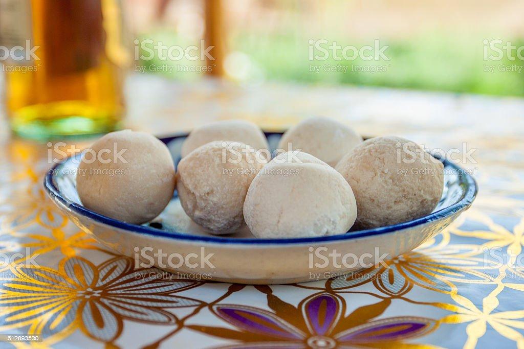 The national dish of Uzbekistan - Kurt stock photo