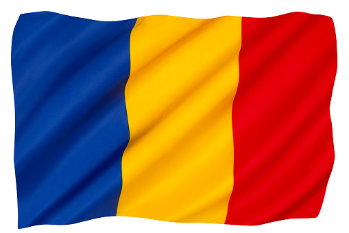 The national flag of Romania - The flag is very similar to the flag of Andorra and the state flag of Chad.