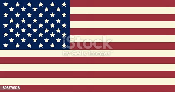 istock The national flag of United States of America. Official colors and proportion of flag of USA. Retro concept 806879928