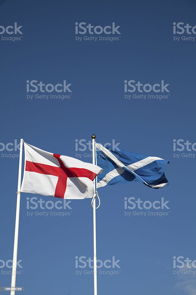 The National flags of England and Scotland stock photo