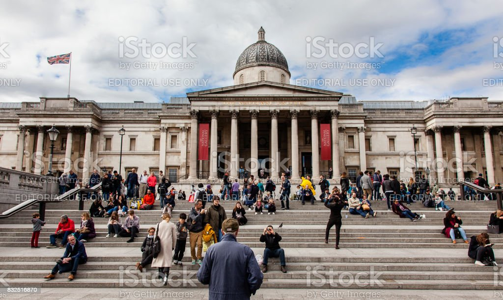 The National Gallery and Trafalgar Square, London, UK stock photo