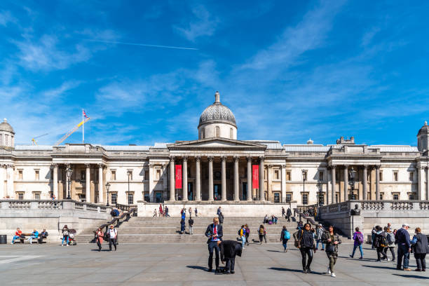 The National Gallery of London in Trafalgar Square stock photo