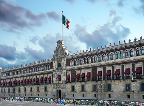 The National Palace facade next to the Zocalo in Mexico City