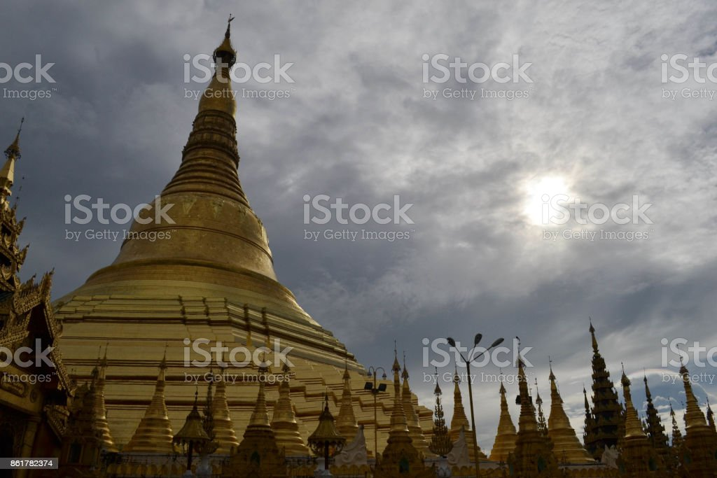 The national religious symbol of Burmese people. It's the shwedagon Pagoda with its golden stupa stock photo