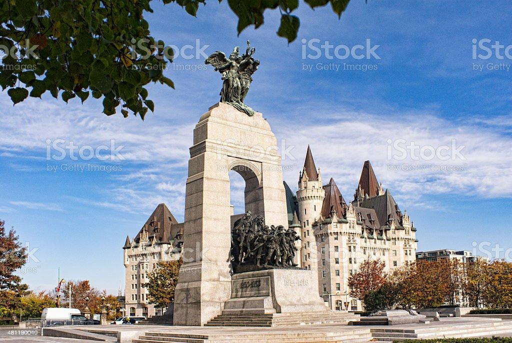 The National War Memorial in Ottawa, Canada stock photo