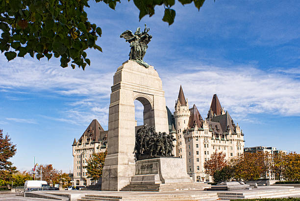 the national war memorial in ottawa, canada - war memorial stock pictures, royalty-free photos & images