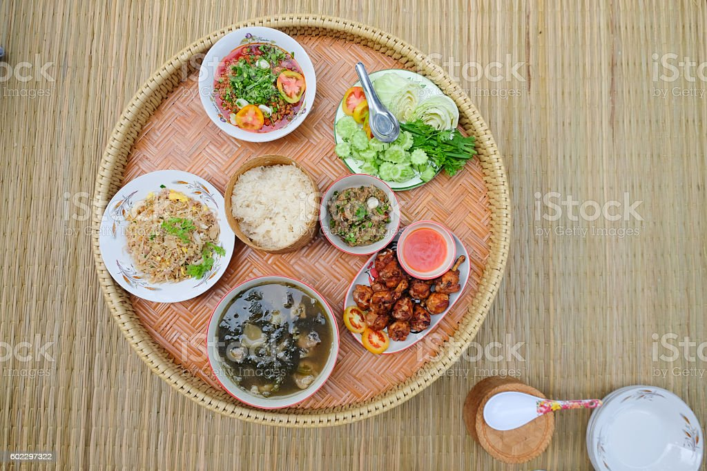 The native set of food that very popular stock photo