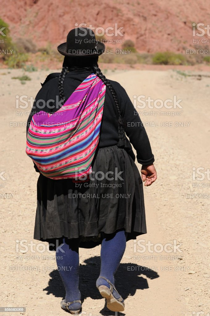 The native women going to home on the mountain stock photo