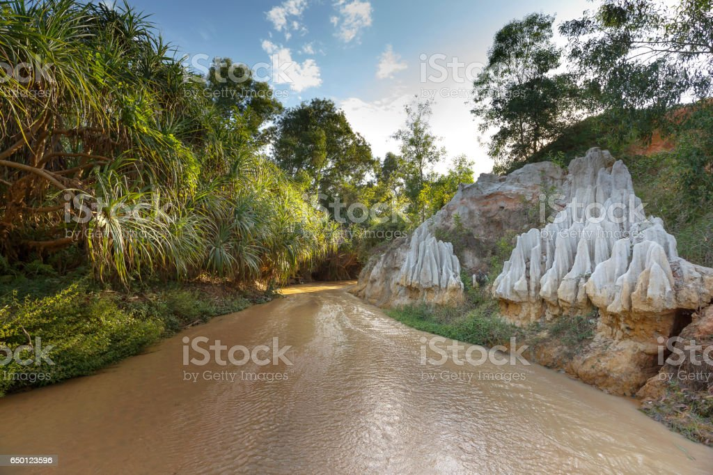 The natural geological shapes in a canyon called:Red Stream stock photo