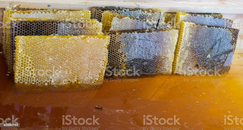 The natural yellow honey as sweet liquid food stock photo