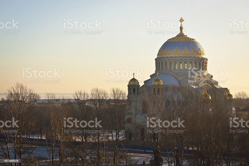 The Naval cathedral of Saint Nicholas in Kronstadt royalty-free stock photo