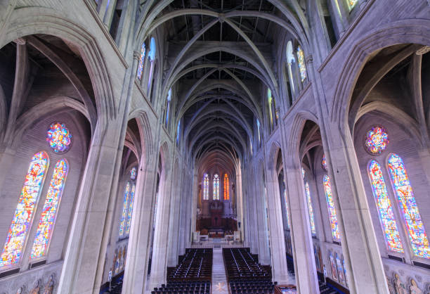 The Nave is the main central area of Grace Cathedral. With 90-foot ceilings, sweeping archways, and 26 stained glass windows, it is a rare and stunning space. With a large seating capacity and wonderful acoustics, the Nave is perfect for larger weddings. stock photo
