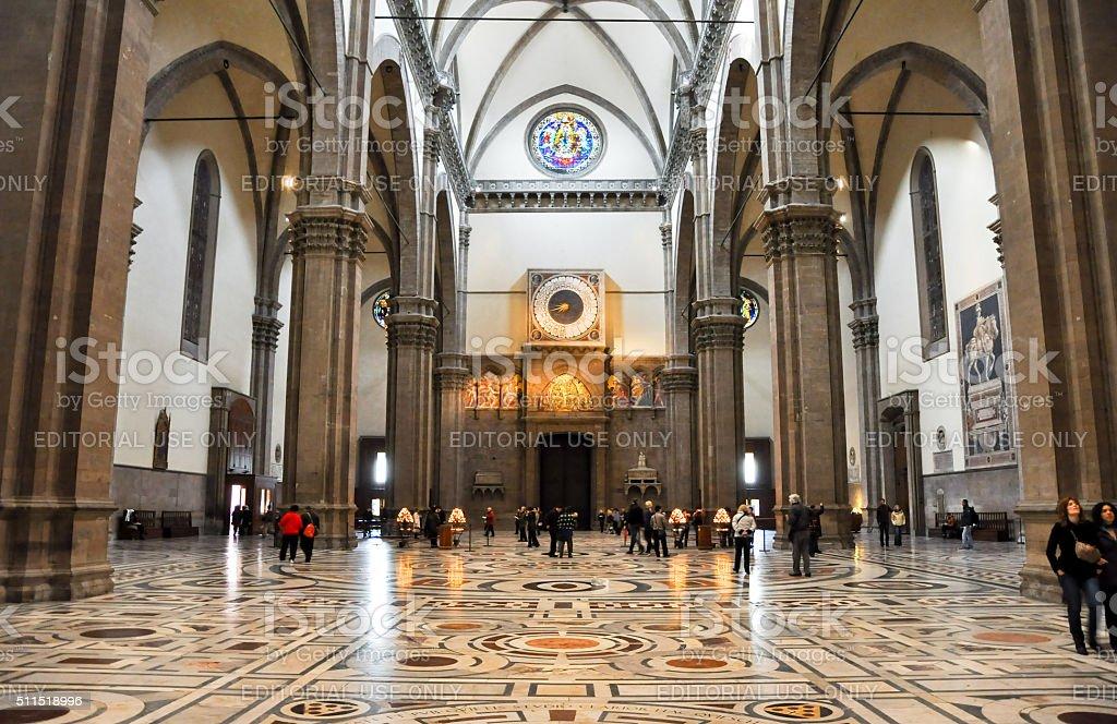 The nave of the Basilica di Santa Maria del Fiore. stock photo