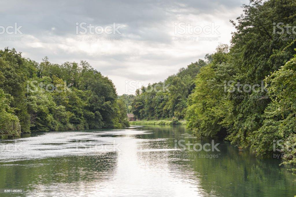 the naviglio chanel along Adda River stock photo