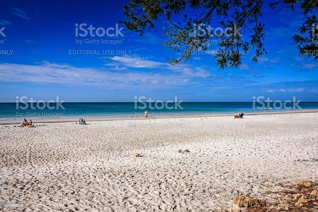 The nearly deserted Anna Maria Island public beach in Florida stock photo