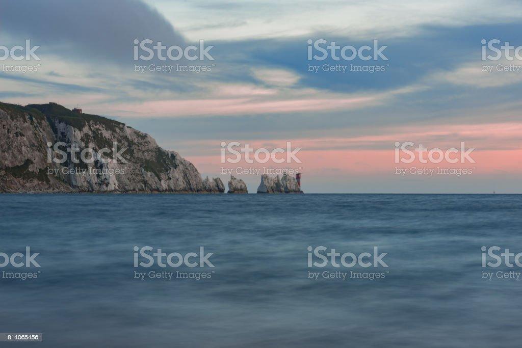 The Needles and Alum Bay sunset stock photo