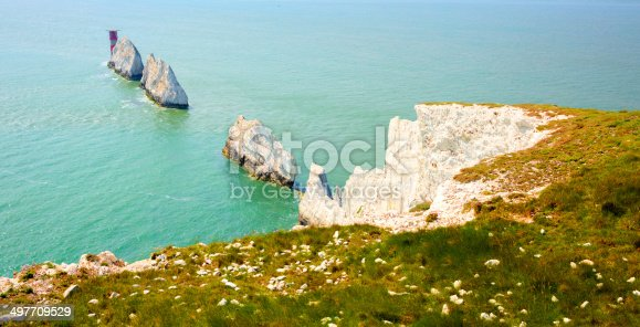 The Needles chalk stacks and lighthouse tourist attraction Isle of Wight UK close to Alum Bay