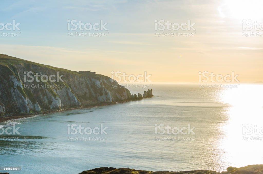 The Needles on the Isle of Wight, England, UK, at sunset. stock photo