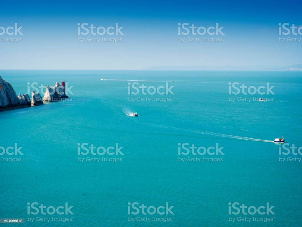 The Needles rock formation on the Isle Of Wight England UK stock photo