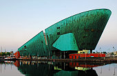 The Nemo Museum of Amsterdam at twilight.