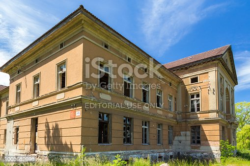 Zdrzewno, Poland- 08 June 2014: The neoclassical palace in Zdrzewno was built in 1867 on the initiative of the Zimdars family. Currently abandoned and devastated.