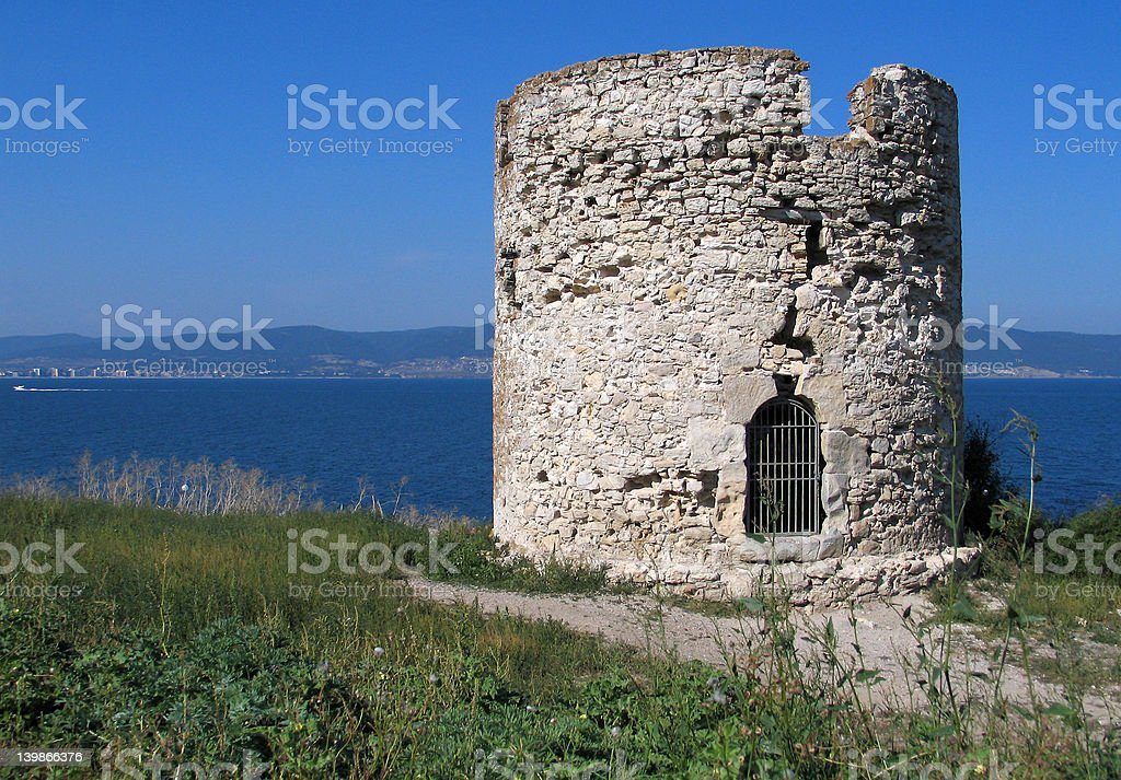 The nessebar tower stock photo