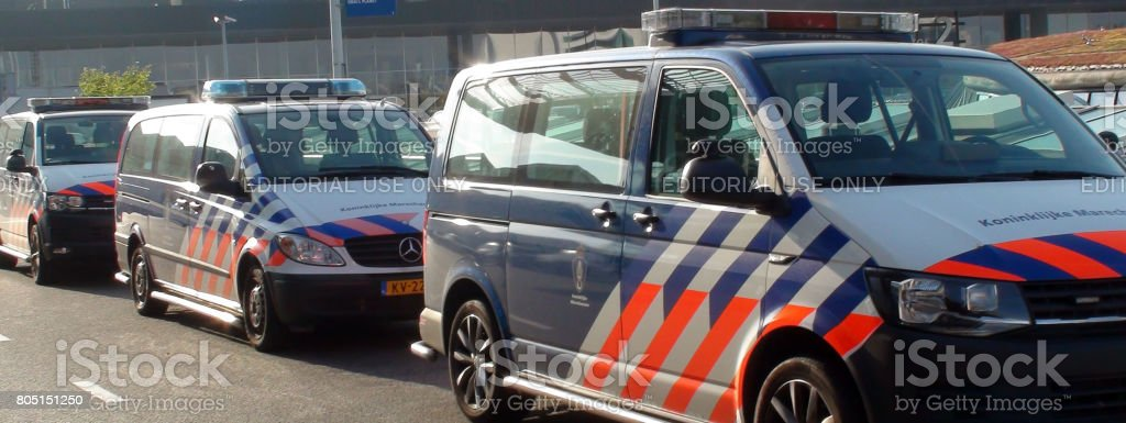 The Netherlands Military Police Land Vehicle Parked At Schiphol Airport Amsterdam.Netherlands Europe stock photo