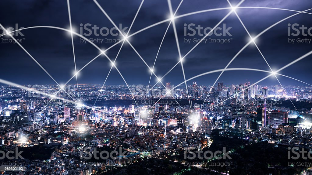 The network of city skyline stock photo