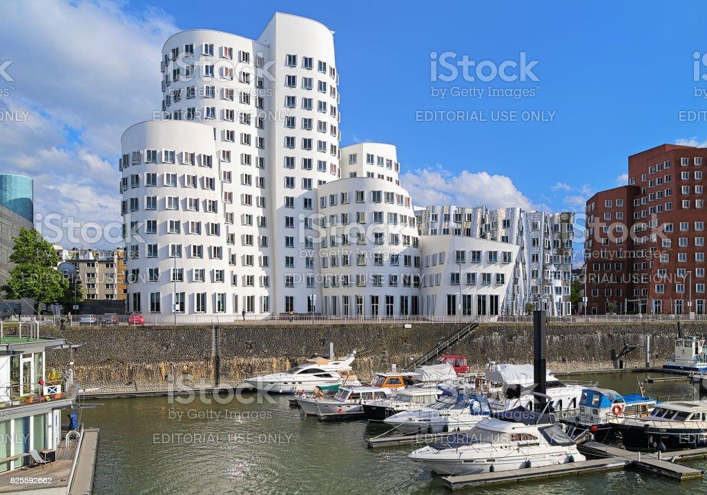 The Neuer Zollhof buldings in Media Harbor of Dusseldorf, Germany stock photo