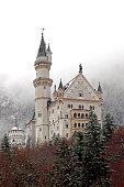 Schwangau, Germany - December 2, 2014: The Neuschwanstein Castle at winter season in the village of Hohenschwangau Germany located in Bavaria.