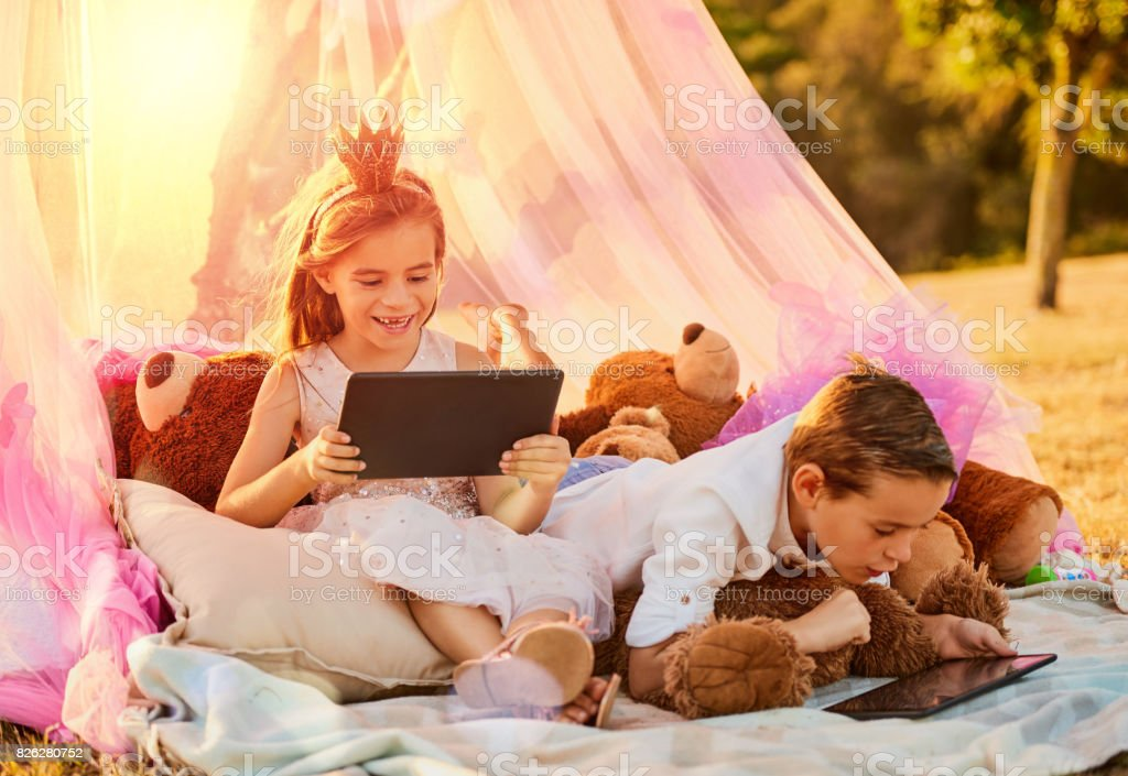 The new age taking technology outdoors with ease stock photo