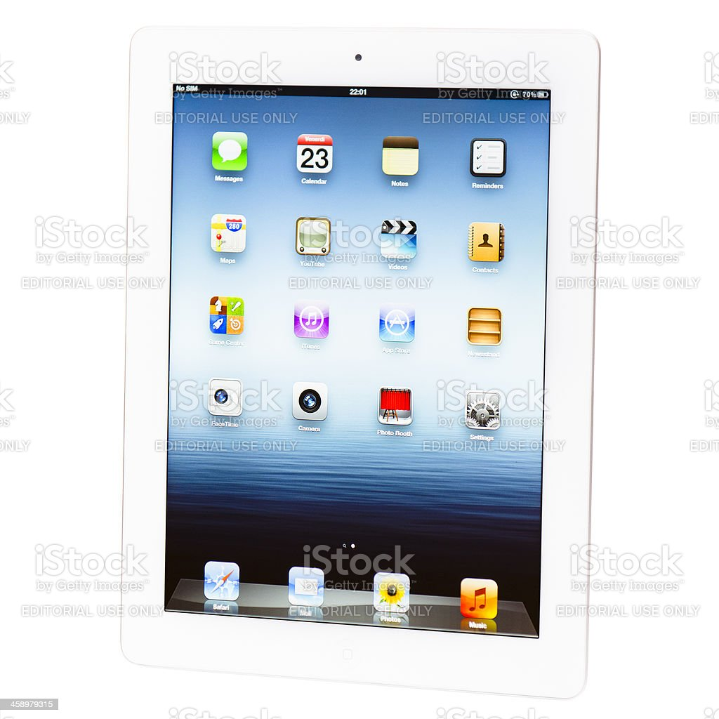 The new Apple Ipad 3 white version isolated stock photo
