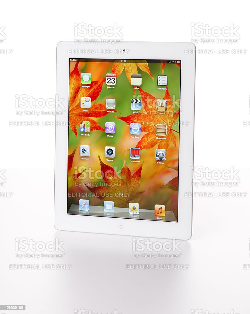 The new Apple Ipad 3 white version on a table royalty-free stock photo