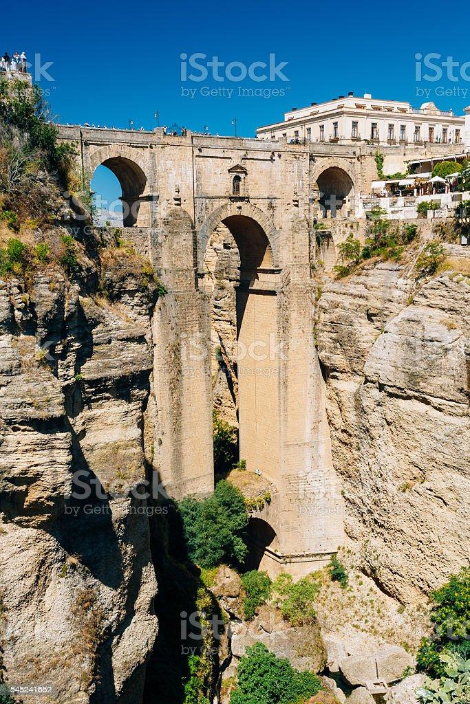 The New Bridge or Puente Nuevo in Ronda, Province  Malaga stock photo